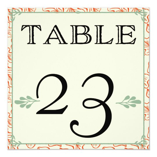 Orange & Teal Rustic Country Table Numbers Card