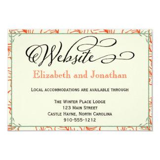 Orange & Teal Rustic Wedding Website Card