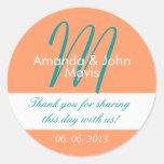 Orange Teal Simple Initial Wedding Favour Thank Round Sticker