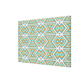 Orange Teal Turquoise Green Tribal Mosaic Pattern Canvas Print