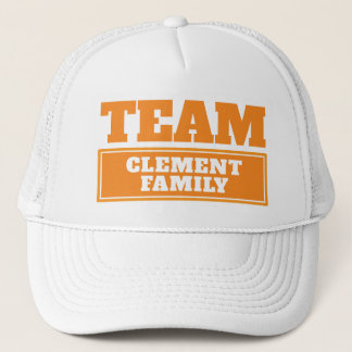 Orange team personalized team name or family name trucker hat