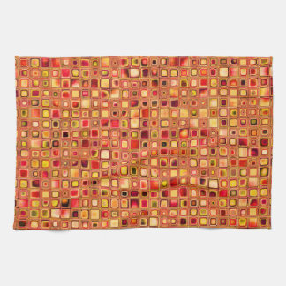Orange 'Terracotta' Textured Mosaic Tiles Pattern Kitchen Towel