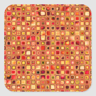 Orange 'Terracotta' Textured Mosaic Tiles Pattern Square Sticker