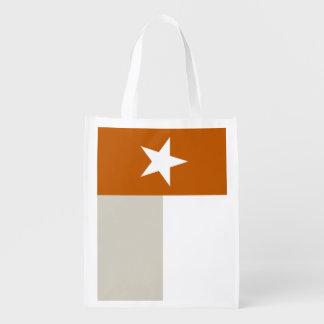 Orange Texas Flag Reusable Grocery Bag
