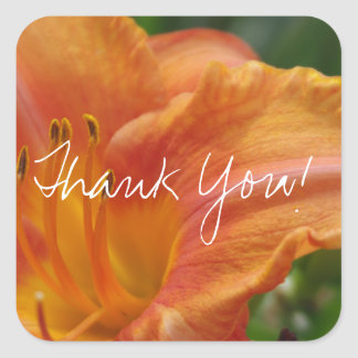 Orange Thank You Square Sticker