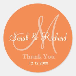 Orange Thank You Wedding Monogram Sticker