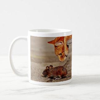 Orange Tiger Cat and Mouse Coffee Mug
