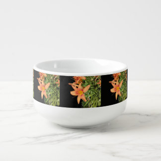 Orange Tiger Lilies Soup Bowl With Handle
