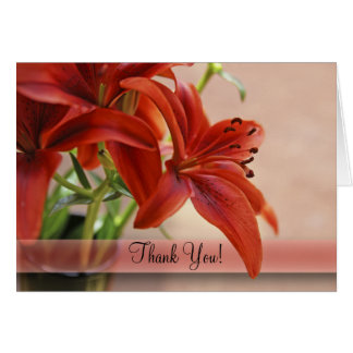 Orange Tiger Lily Close Up Photograph Card