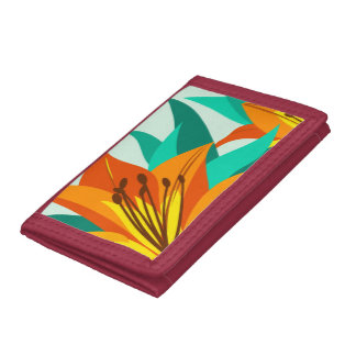 Orange Tiger Lily Tri-fold Wallet