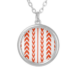 Orange Tire Tread Silver Plated Necklace