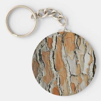 Orange Tone Tree Bark Texture Basic Round Button Keychain