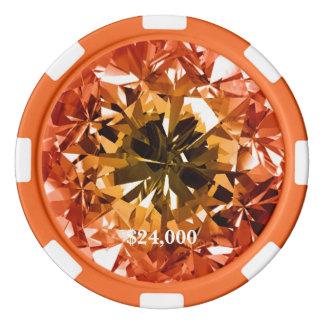 Orange Topaz Citrine Filter Diamond Gem Stone Poker Chips