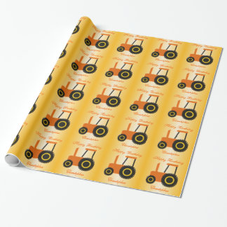 Orange Tractor Birthday Wrapping Paper