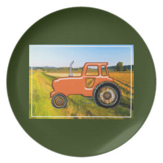 Orange Tractor in the Farm Fields Dinner Plate
