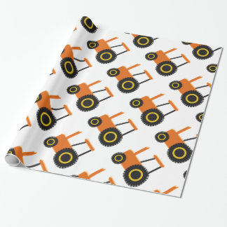 Orange Tractor Wrapping Paper