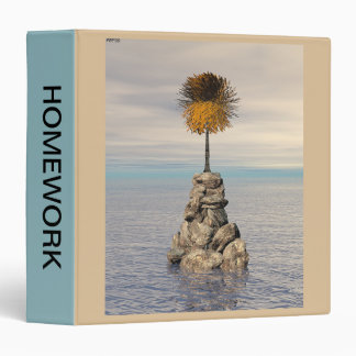 Orange Tree At Sea On Rock Vinyl Binder