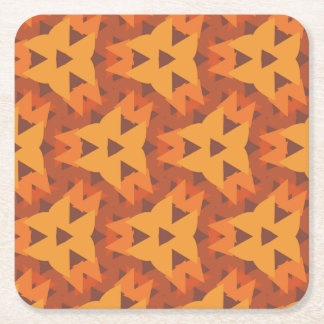 Orange Triangle Pattern Square Coaster