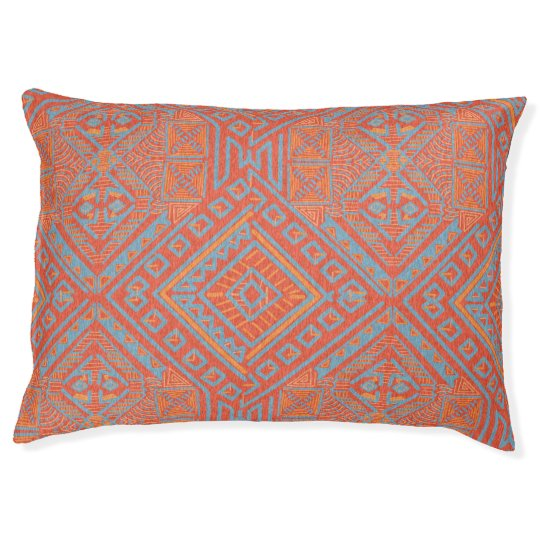 Orange Tribal Dog Bed - Large