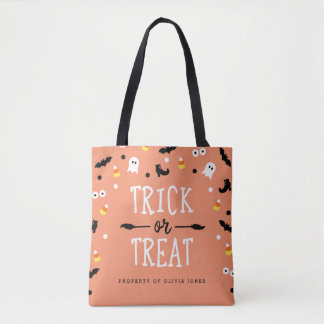 Orange Trick or Treat Personalized Halloween Bags