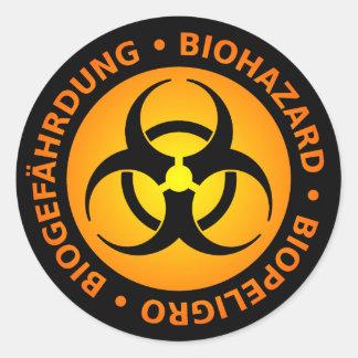Orange Trilingual Biohazard Warning Round Sticker