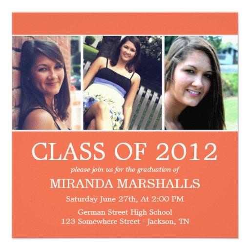 Orange Triple Photo Graduation Announcements