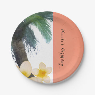 Orange Tropical Palm Tree & Plumeria Summer Party 7 Inch Paper Plate