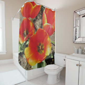 Orange Tulip Mosaic Shower Curtain