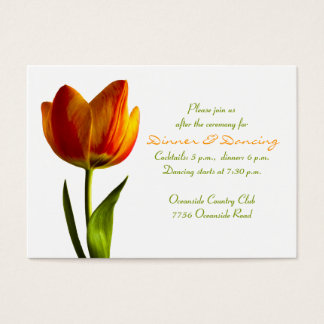 Orange Tulip Wedding Reception Card
