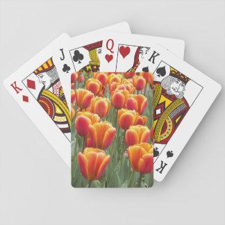 Orange Tulips Floral Poker Deck