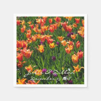 Orange Tulips in Garden Disposable Napkins
