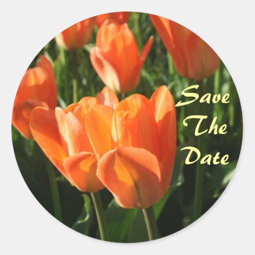 Orange Tulips Save The Date Wedding Sticker