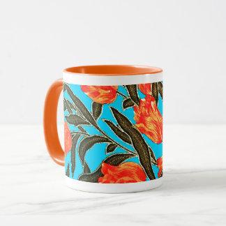 """""""Orange Tulips"""" Turquoise Mug"""