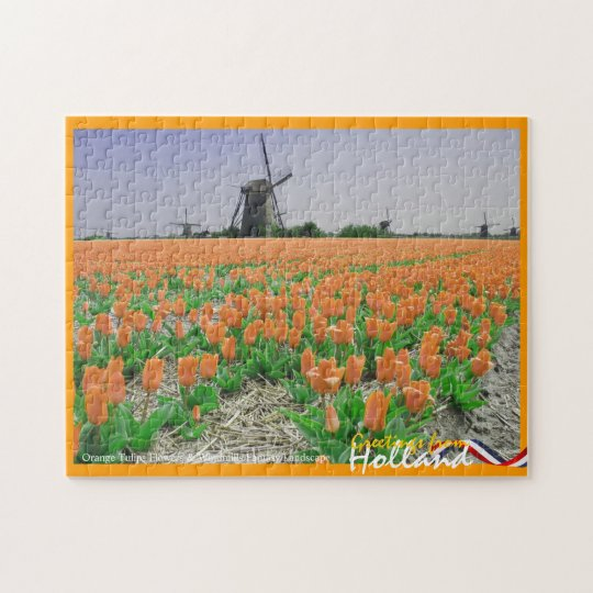 Orange Tulips & Windmills Fantasy Landscape Puzzle