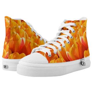 Orange Tulips Zipz High Top Shoes