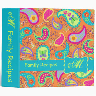 Orange Turquoise Modern Paisley Pattern Monogram Binders