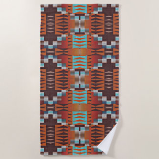 Orange Turquoise Teal Red Tribal Mosaic Pattern Beach Towel