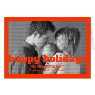 Orange Typography Happy Holidays Greeting Card