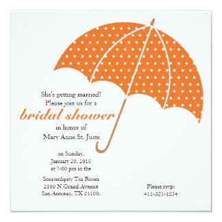 orange umbrella Classic Bridal Shower invitation