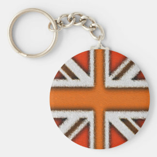 Orange Union Jack Basic Round Button Keychain
