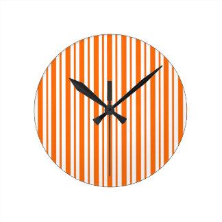 Orange Vertical Pinstripe Round Clock