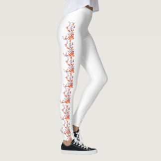 Orange Vine Flower Custom Leggings