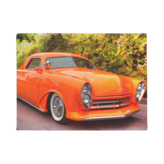 ORANGE VINTAGE CAR DOORMAT