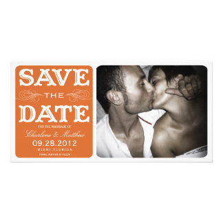 ORANGE VINTAGE  | SAVE THE DATE ANNOUNCEMENT PICTURE CARD