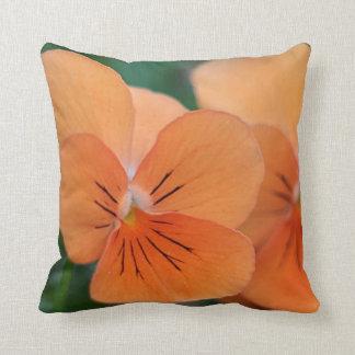 Orange violas throw pillow