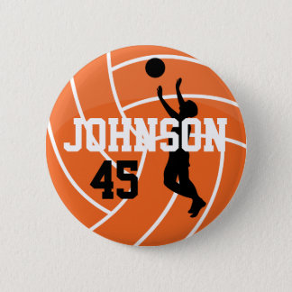 Orange Volleyball with Silhouette Player 2 Inch Round Button