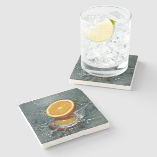 orange water drench  marble stone coaster