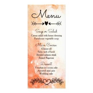 Orange Watercolor Black Menu Laurel Heart