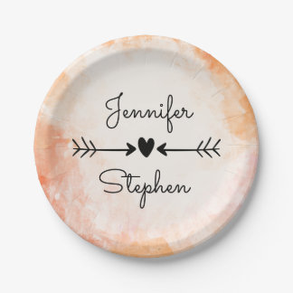 Orange Watercolor Grunge  Wedding  / Party Paper Plate