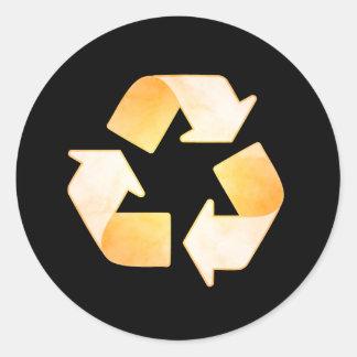 Orange Watercolor Recycling Symbol Sticker